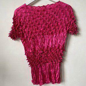 "LN Vintage 80s ""F.C."" Hot Pink Popcorn Top"
